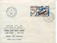 24442 St.pierre Miquelon,  Fdc Premier Liaison Postale Sainpierre New York, 28.9.1964 - St.Pierre Et Miquelon