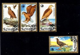 Mongolia. Mongolië. Serie 4 Stuks Gestempeld. Uitgave 1998. Birds. Vogels. - Mongolië