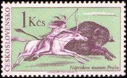 Czechoslovakia / Stamps (1966) 1539: Indians Of North America - Naprsteks Museum (Hunting Bison); Painter: L. Sindelar - American Indians