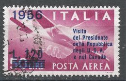 Italy 1956. Scott #C136 (U) Plane And Clasped Hands - Luchtpost