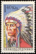 Czechoslovakia / Stamps (1966) 1541: Indians Of North America - Indian From Dakota Tribe; Painter: Lumir Sindelar - American Indians