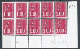 : N° 1892 Marianne De Bequet 1.00F 3 Bandes Phos Bloc De 10 Daté ** - 1970-1979