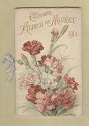 Grand Calendrier Ancien De 1901 Alfred De Musset Très Belle Illustration Fleurs Flowers Oiseaux Birds 13,5 Cm X 22 Cm - Calendriers