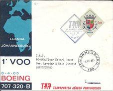 1ER VOO LUANDA JOHANNESBURG 6-4-65 BOEING 707 320 B TAP TRANSPORTES AEREOS PORTUGUESAS PRIMEIRA LIGACAO AEREA - Angola