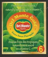 # PINEAPPLE DEL MONTE GOLD VITAMIN C Size 6 Fruit Tag Balise Etiqueta Anhanger Ananas Pina Costa Rica - Fruits & Vegetables