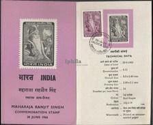 Maharaja Ranjit Singh 1966    STAMPED FOLDER       Emperor Of The Punjab    Indian Indien Inde Sikh Sikhs Sikhism - Religions