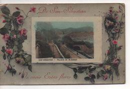 DE SAN- SEBASTIAN  Os Envio  Estas  Flores  -  Carte Fantaisie  -  Palacio De Miramar  -  Assez Rare - Guipúzcoa (San Sebastián)