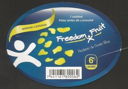 # PINEAPPLE FREEDOM FRUIT Size 6 (Type 1) Fruit Tag Balise Etiqueta Anhanger Ananas Pina Costa Rica - Fruits & Vegetables