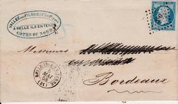 MARQUE POSTALE LAC BELLE ISLE EN TERRE A BORDEAUX/ N°14  PC 350 - 1849-1876: Période Classique