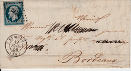 MARQUE POSTALE  LAC  ST  MALO A BORDEAUX  /  N°14  PC 3176 - 1849-1876: Periodo Classico