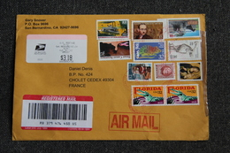 Enveloppe Timbrée Recommandée De SAN BERNARDINO ( CALIFORNIE ) à CHOLET ( FRANCE). - Cartas