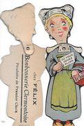 SUJET FEMME  UN BON AVIS SYSTEME TETE SE PLIANT  BONBONNERIE CLERMONTOISE COULEURS HAUTEUR 15CMS - Trade Cards