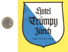 ETIQUETA DE HOTEL  - HOTEL TRUMPY  -ZURICH  - SUIZA - Hotel Labels