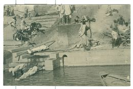 Vintage India Bathing Ghat (4 Off) RP's One With Bounded Corpses/fire? - India