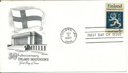 USA FDC 6-10-1967 50th Anniversary Finland´s Independence With FLAG Cachet - Premiers Jours (FDC)