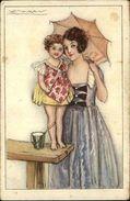 MAUZAN - Beautiful Woman Mother & Daughter C1915 Postcard - Illustratoren & Fotografen