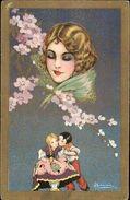Busi - Art Deco - Beautiful Woman's Face On Children C1915 Postcard - Illustratoren & Fotografen