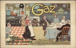 French Cooking & Lighting Gas - Maid Serving Dinner Advertising C1910 Postcard - Reclame