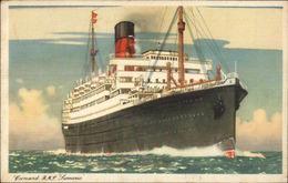 Cunard Line Steamship Samaria Used Paquebot Posted At Sea Cancel Postcard - Boten