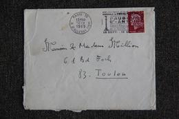 Enveloppe Timbrée De PARIS à TOULON - Marcophilie (Lettres)