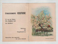 Calendrier 1969 Koutkine Paris Rue De L' Eglise Télévisions Magnétophones TSF  Pommier En Fleurs - Petit Format : 1961-70
