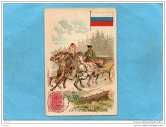 """Chromo-image-RUSSIE -année1908-""""la Poste En Russie""""fac Timbre Et Malle  Courrier à Cheval - Cromo"""