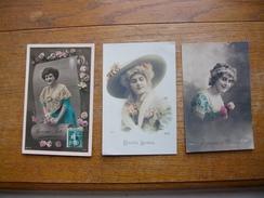 3 Anciennes Cartes  Silhouettes De Femmes Ou Portraits - Silhouettes