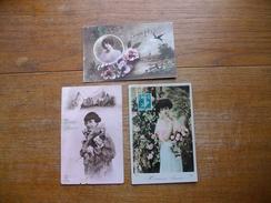 """3 Anciennes Cartes  Silhouettes De Femmes Ou Portraits """" Pour La Bonne Année """" - Silhouettes"""