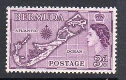 Bermuda QEII 1953-62 3d Island Map, Type II (Sandys) Definitive, MNH, SG 140a - Bermuda