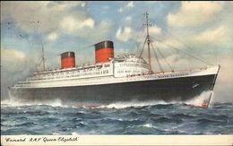 Cunard RMS Steamship Queen Elizabeth Paquebot Posted At Sea Cancel Postcard - Boten