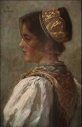 Hasemann - Native German Woman Black Lace Hat C1910 Postcard - Illustratoren & Fotografen