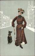 Art Deco Beautiful Woman W/ Her Small Black Dog - Terrier? Postcard C1910 - Illustratoren & Fotografen