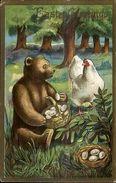 Easter Fantasy - Teddy Bear W/ Basket Of Eggs C1910 Postcard - Wensen En Feesten