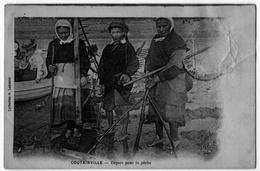 Coutainville Manche Pêcheurs Gros Plan 1919 - France