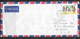 1976 35 Cents Game On 19 June 1977 Cover To USA - Tuvalu