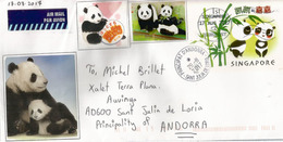 Kai Kai & Jia Jia, Couple De Pandas River Safari Singapore, Entier Postal Singapour Adressé ANDORRA - Ours