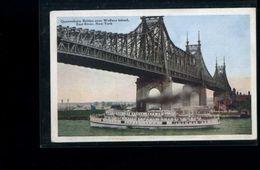 CPA  Queensboro Bridge Over Welfare Island  East  River : New -York  Carte écrite 1923 - Ponts & Tunnels