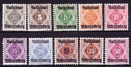 "Württemberg 1919, Dienstmarken ""Volksstaat Wttbg"", Michel: € 75 - Wuerttemberg"