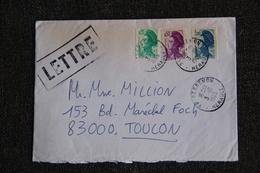 Enveloppe Envoyée De CESSENON à TOULON - Marcophilie (Lettres)