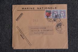 Enveloppe Timbrée, MARINE NATIONALE,envoyée De PARIS à PARIS ( YT - 5B3) - Marcophilie (Lettres)