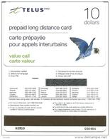 Canada-telus-prepiad Long Distance Card-mint Card-10$+1 Card Prepiad Free - Canada