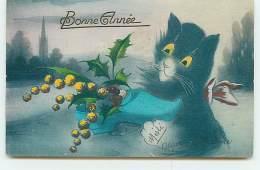 N°8344 - Carte Fantaisie - Bonne Année - Chat Noir Avec Un Sabot - Style Boulanger - Nouvel An