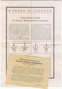 D336 Deutsches Reich Ca. 1930 Gebrauchsanweisung Bluttransfusion Gerät Medizin Braun Melsungen Apparat - Tools