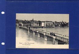 ##(003)POSTCARDS -Bridges  -Switzerland- 1900's -  Basel Bridge,  Postcard  Unused- Animated  -  Tram - Cartes Postales