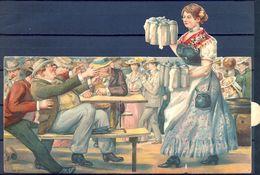 1907 ALEMANIA , CERVEZA , BREWERIANA , TARJETA POSTAL DESPLEGABLE CIRCULADA , PUBLICIDAD , NÜREMBERG VOLKSFEST - Pubblicitari