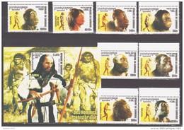 Cambodia 2001 Kambodscha Mi 2254-2261 + Block 291(2262) Prehistoric Man / Entwicklungsgeschichte Des Menschen **/MNH - Histoire