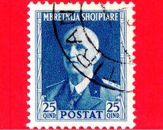 ITALIA - ALBANIA - Usato - Occupazioni - 1939 - Effigie Di Vittorio Emanuele III Di Fronte - 25 - Albania