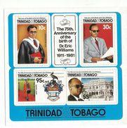 1986 Trinidad TobagoEric Williams Prime Minister University Caot Of Arms Complete Set Of 4 + Souvenir Sheet MNH - Trinidad & Tobago (1962-...)