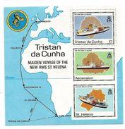 1990 Tristan Da Cunha New RMS St. Helena Ships Maps JOINT ISSUE Souvenir Sheet MNH - Tristan Da Cunha