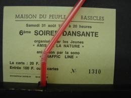 PAD. 219.  Carte D'entrée à La Soirée Dansante à La Maison Du Peuple à Basècles En 1985 - Tickets - Entradas
